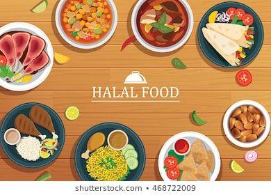 Halal Food On A Wooden Background Vector Halal Food Top View Halal Recipes Halal Certification Food