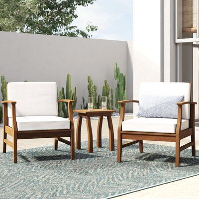 Mistana Antonia 3 Piece Seating Group With Cushions Cushion Color Cream In 2021 Conversation Set Patio Seating Groups Teak Patio Furniture