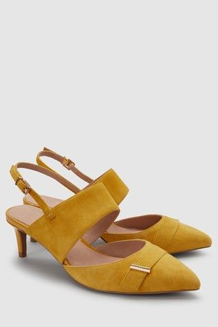 Buy Ochre Suede Hardware Kitten Heels From The Next Uk Online Shop Heels Next Shoes Women Shoes