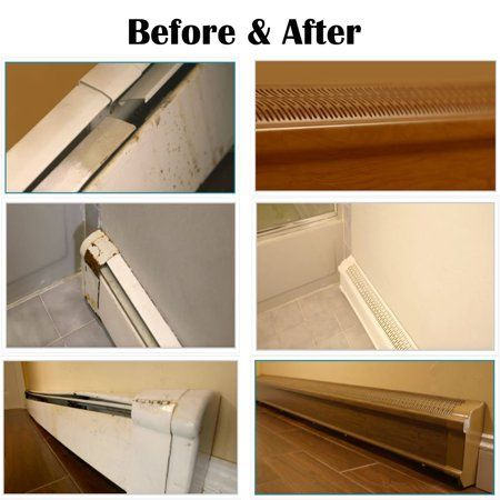 Baseboard Heat Covers Complete Set 2 Feet White Includes Right And Left End Caps Hot Water Hydronic Heater Baseboard Cover Enclosure Replacement Kit For Baseboard Heating Baseboard