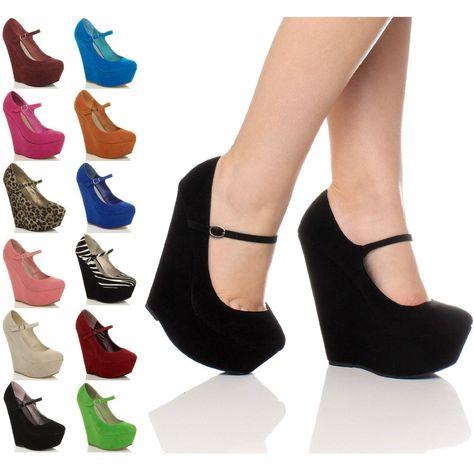 Womens ladies high heel wedge platform mary jane style full toe shoes size: Amazon.co.uk: Shoes & Bags