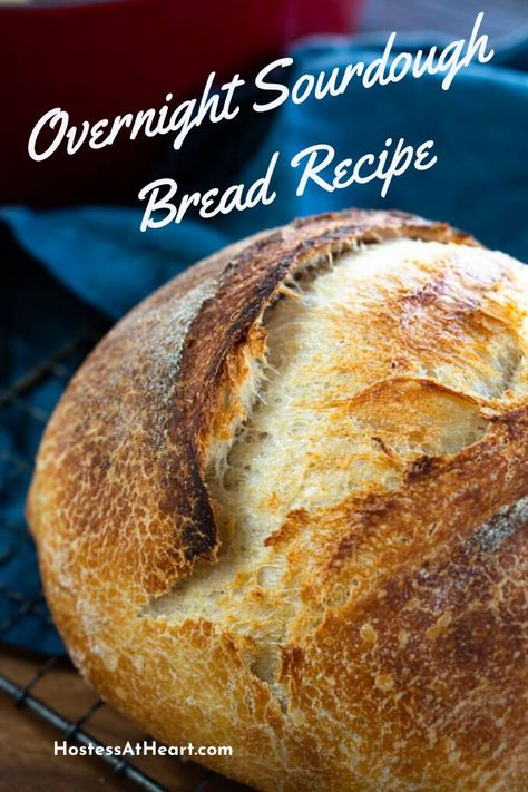 Overnight Sourdough Bread Loaf is a homemade Artisan bread with a step-by-step video making this bread loaf recipe perfect for beginners. You'll love the soft tender crumb and a crispy crust.