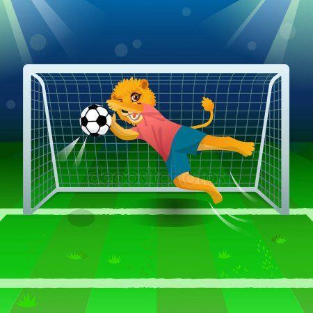 Lion Goalkeeper Catching Soccer Ball Gates Field Stock Vector Ad Catching Soccer Lion Goalkeeper Ad Goalkeeper Soccer Ball Soccer