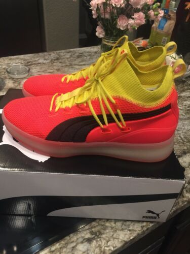 detailing 8db03 5ac6e Details about Puma Mens Clyde Court Disrupt Red Blast Yellow ...