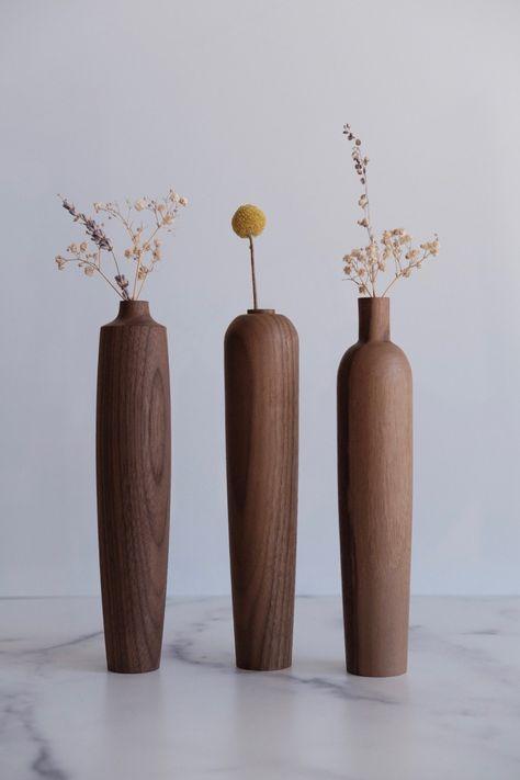 Vase Set of three Medium - In Walnut