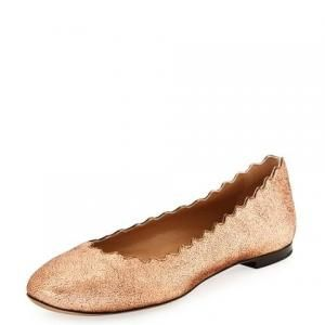 Chloe Scalloped Rose Gold Leather