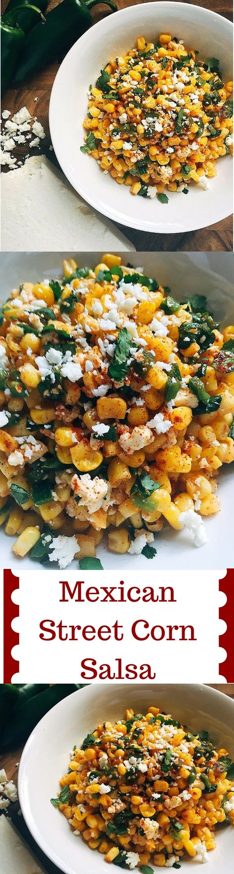 This fast and fresh salsa combines all the flavors of Mexican Street Corn into a convenient and healthy salsa! Takes just 5 minutes to make and also tastes great on tacos, enchiladas, and more!