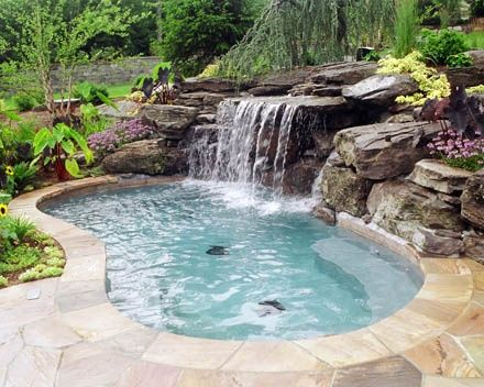 Image Result For Small Pool With Waterfall Backyard Pool Landscaping Pool Waterfall Pool Landscaping
