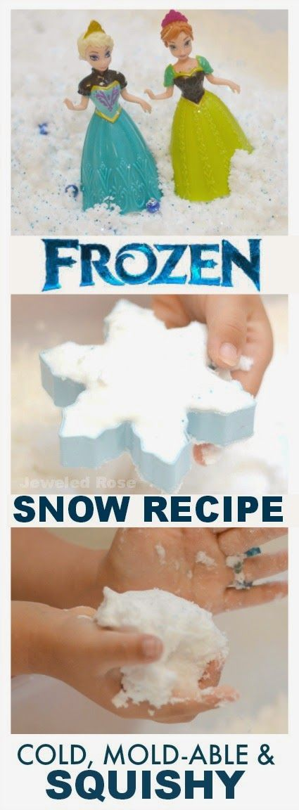 Make Your Own Frozen Snow {Recipe for Play}  It's cold, squishy, mold-able, and magical! A must try recipe for kids who love Frozen
