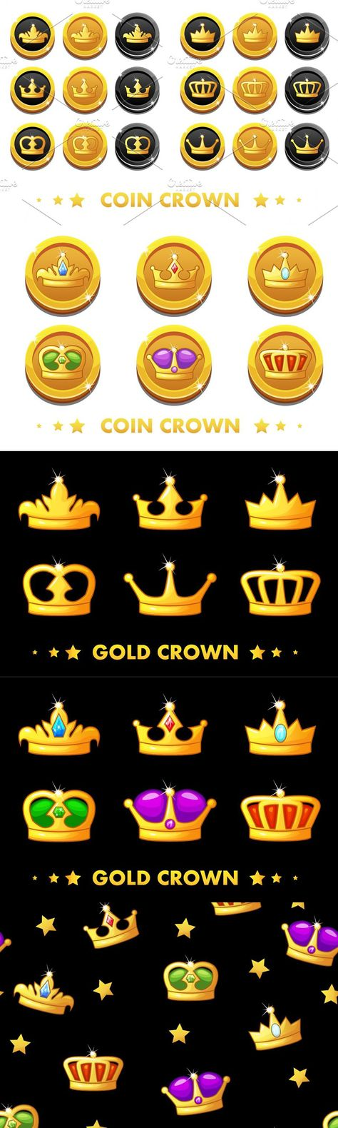 Crown icons, Gold and black coins