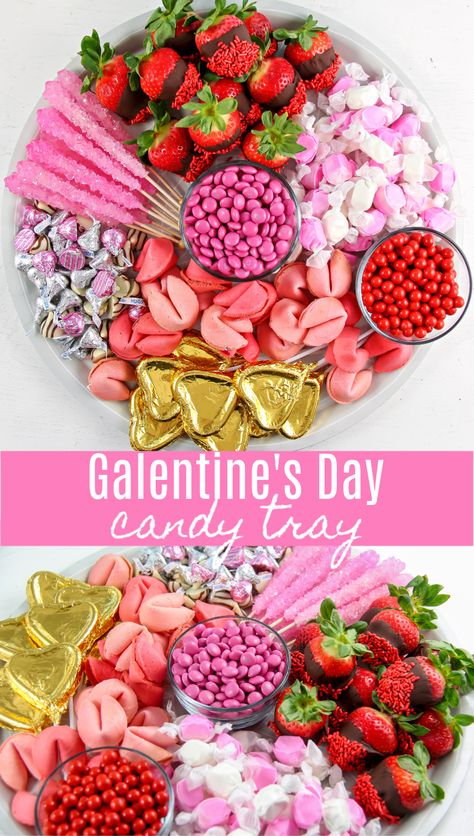 Valentine's Day Candy Charcuterie Tray - Tonya Staab - Valentine's Day candy charcuterie board to celebrate Galentine's Day with girlfriends - Charcuterie Recipes, Charcuterie And Cheese Board, Charcuterie Platter, Cheese Boards, Party Food Platters, Party Trays, Food Trays, Valentines Day Treats, Holiday Treats