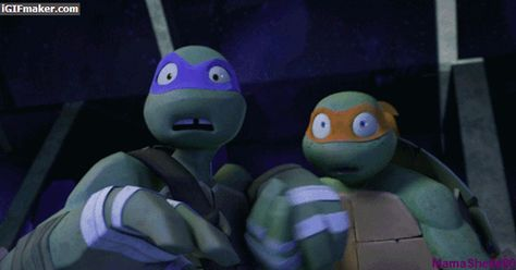 """I'm laughing much because I just noticed Mikey put Donnie's hand over his face. Mikey be like..""""cover my eyes bro""""."""