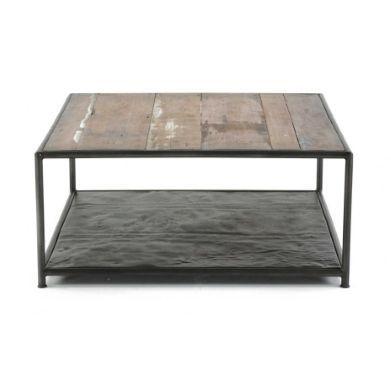 Table Basse Kleo En Teck Recycle Et Bidons Metal 80x80x35cm Zago 320 Table Basse Table Basse Ronde Table Basse Verre