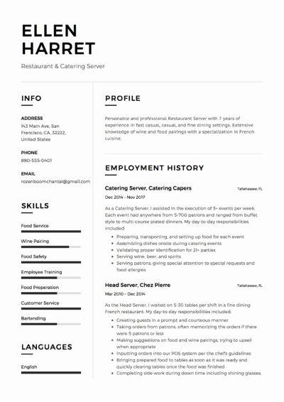 Fine Dining Server Resume Unique Full Guide Restaurant Server Resume 12 Pdf Examples In 2020 Server Resume Job Resume Examples Resume Examples