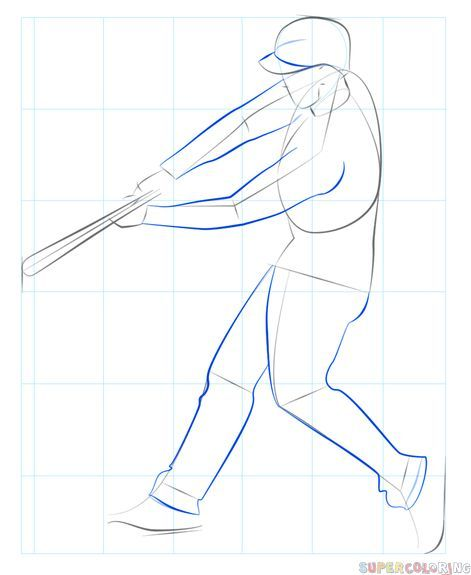How To Draw A Baseball Player Hitting The Ball Step By Step