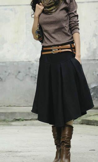 black skirt + l/s t-shirt + belt + scarf... you can't go wrong!