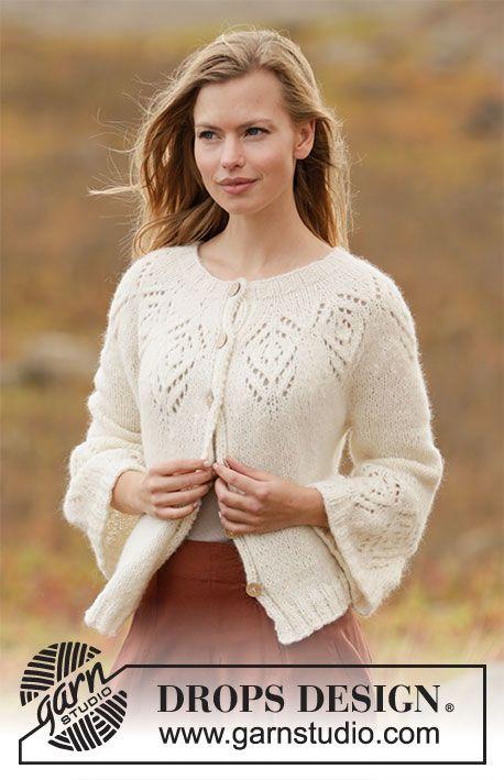 Tulip Ring Jacket Drops 212 4 Free Knitting Patterns By Drops