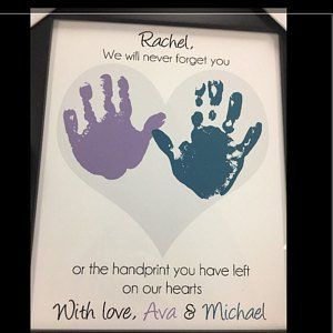 Personalized Thank you Present using Your Child/'s Hands Teacher Gift for Nanny Babysitter UNFRAMED Handprint Flower Art Print Daycare