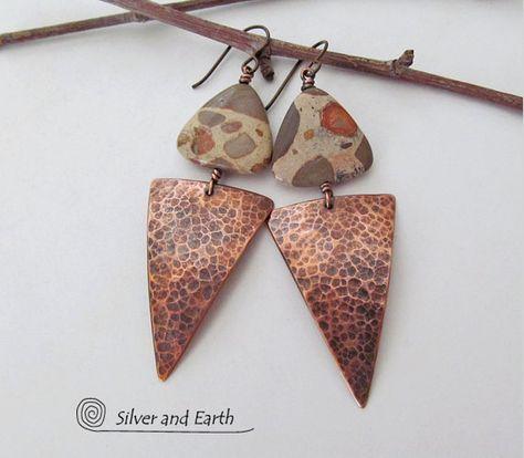 Copper Plank Cone Earrings