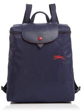 Longchamp Le Pliage Club Collection Horse Embroidery Backpack Bag Plum