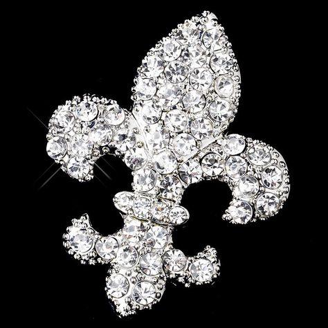 Antique Silver Clear Rhinestone Fleur De Lis Brooch