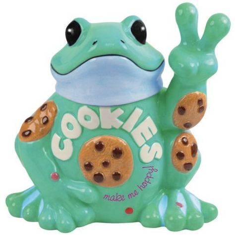 Westland Giftware Peace Frogs Cookie Jar, This adorable jar features the character started in a dorm room at the University of Virginia. Frog Cookies, Cute Cookies, Cookies Et Biscuits, Frog House, Antique Cookie Jars, Westland Giftware, Cute Frogs, Funny Frogs, Vintage Cookies