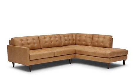 Eliot Leather Sectional With Bumper Leather Sectional Sofas Mid Century Modern Sectional Sofa Mid Century Modern Leather Couch