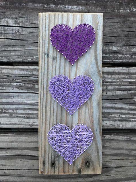 Plataforma madera tres corazón cadena arte arte de cadena  Hiloramas