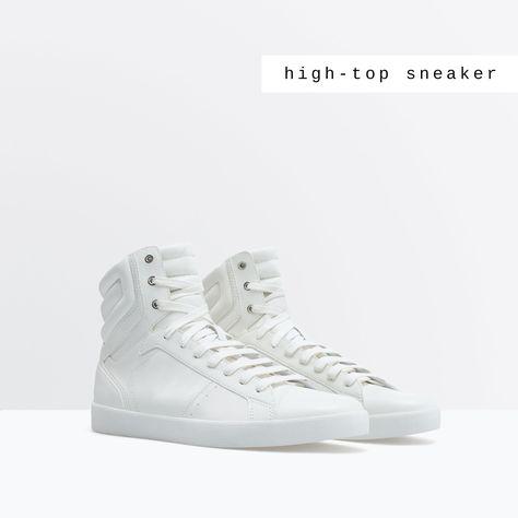 ZARA MAN ALL WHITE HIGH TOPS | Hombres con zapatos