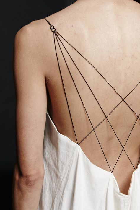 Dress back detail with dainty crisscross straps; close up fashion details // Titania Inglis