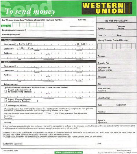 Union formular western bank Western Enterprises