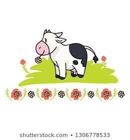 Cute Cow Daisy Cartoon Vector Illustration Motif Set With Border Hand Drawn Isolated Farm Animal Floral Dairy Elements Cartoon Vector Cute Cows Daisy Cartoon