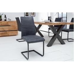 Industrial Freischwinger Stuhl Appartment Antik Grau Mit Met