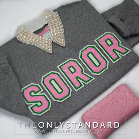 Grey sweatshirt with pink chenille letters and customizable outline and felt color options. Perfect for members of Alpha Kappa Alpha Sorority, Inc. Sorority Letters, Aka Sorority, Alpha Kappa Alpha Sorority, Sorority Life, Pretty Girl Swag, Pretty Girls, Alpha Kappa Alpha Paraphernalia, Sorority Fashion, Greek Paraphernalia