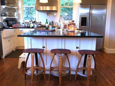 Super cool stools and other pieces of furniture made from wine barrels!