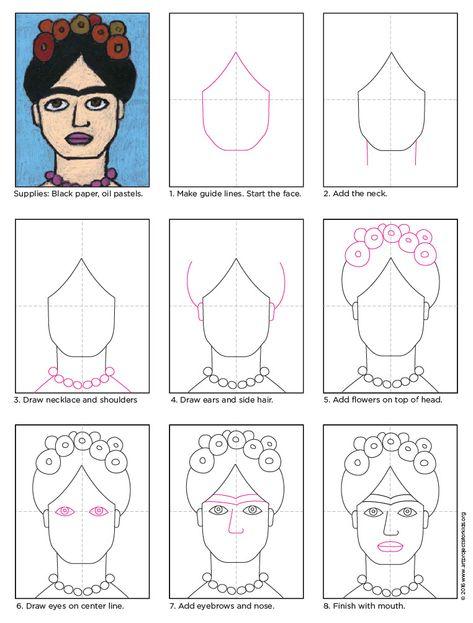 Cómo dibujar a Frida Kahlo · Proyectos de arte para niños Mi favorito . - Cómo dibujar a Frida Kahlo · Proyectos de arte para niños Mi proyecto favori - Frida Kahlo Artwork, Frida Kahlo Portraits, Kahlo Paintings, Frida Art, Diego Rivera, Portraits For Kids, Self Portrait Artists, Simple Portrait, Mexican Art