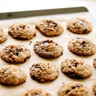 Vegan Tahini Chocolate Chunk Cookies Recipe Chocolate Chunk Cookies Peanut Butter Chocolate Chip Biscuit Recipe