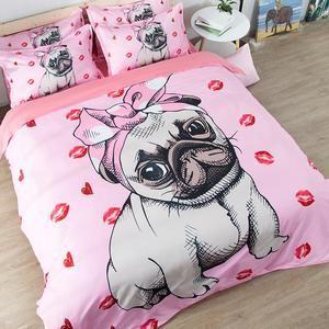 Pink Pug Bedding Set Pink Bedding Set Cute Bedding Cute Bed Sets