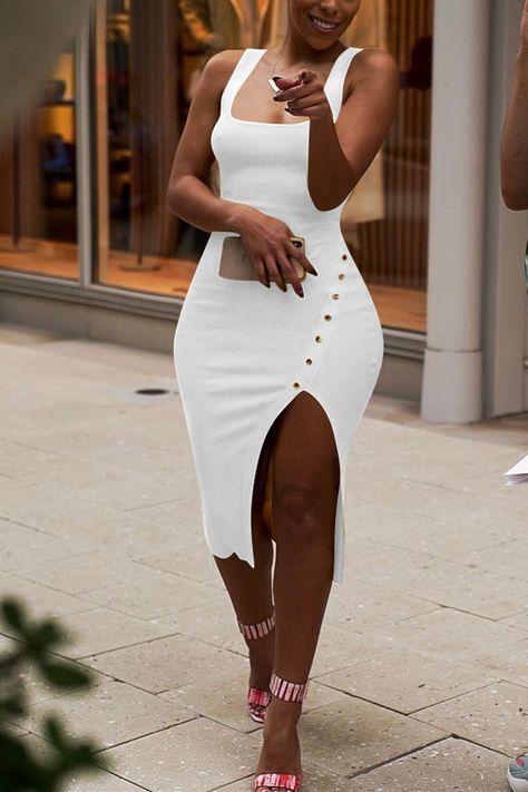 Classy Outfits, Chic Outfits, Dress Outfits, Dress Up, Bodycon Dress, Slit Dress, All White Party Outfits, Classy Going Out Outfits, White Outfits For Women