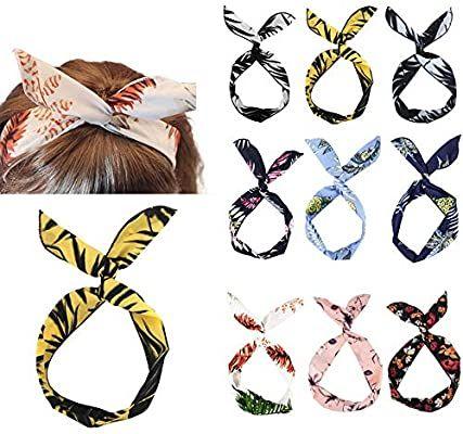 Amazon Com Yeshan Wire Retro Boho Headbands Headwrap For Girls Floral Printed Bow Headband Bunn Hair Accessories For Women Vintage Headbands Big Bow Headband