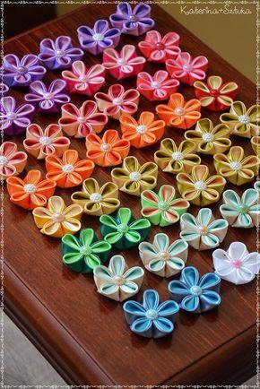 Katerina Sztuka Kwiaty Kanzashi Ze Wstazek Satynowych Tutorial Silk Ribbon Embroidery Ribbon Embroidery Kanzashi