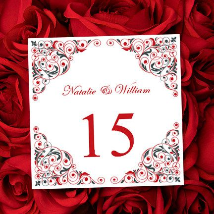 Table Number Card Printable Template Isabella by WeddingTemplates
