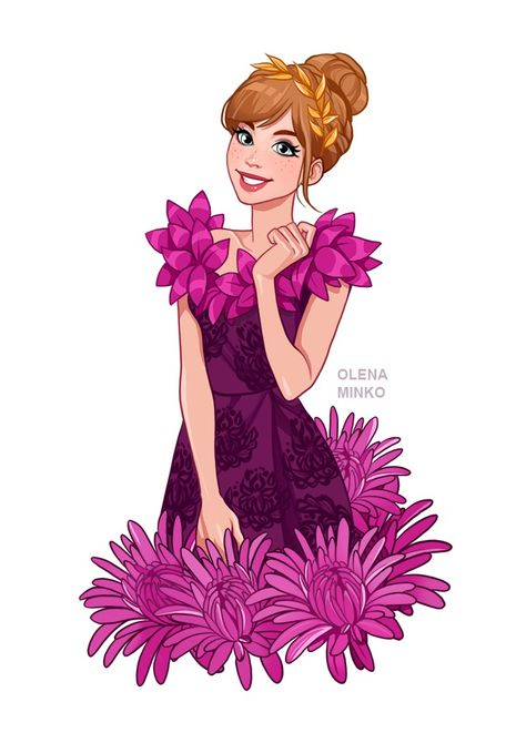 Disney Princesses in floral dresses and flower crowns