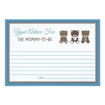 Blue Teddy Bear Baby Shower Mommy Advice Card Zazzle Com With