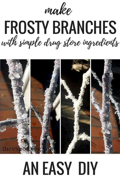 DIY FROSTY BRANCHES using simple drug store ingredients To buy decorative frosty or icy branches in the store can be very expensive. They're actually quite easy to make on your own using epsom salt, glitter and glue. Check out this easy tutorial. Christmas Crafts For Adults, Christmas Projects, Holiday Crafts, Christmas Float Ideas, Christmas Parade Floats, Spring Crafts, Outdoor Christmas, Rustic Christmas, Winter Christmas