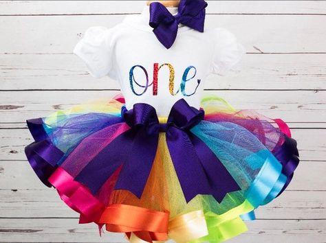 149fe8ecb4 Rainbow Tutu for Girl - 1st Birthday Girl Outfit - Cake Smash Tutu -  Toddler Birthday