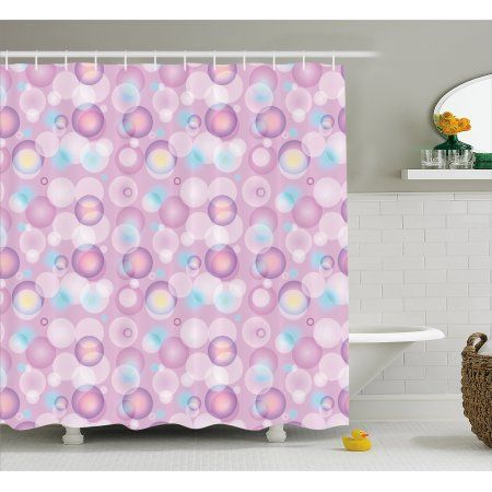 Pale Pink Shower Curtain Abstract Bubble Spheres With Color Details Modern And Vibrant Fabric Bathroom Set Pink Shower Curtains Modern Bathroom Bathroom Sets