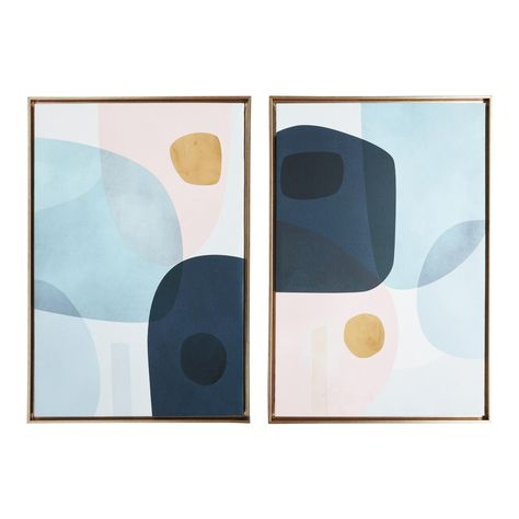 Abstract watercolor circle Canvas Painting Poster Print animal Wall Art Pictures For Living Room Bed Gold Monde I-II by Victoria Borges Framed Wall Art Set of 2 by World Market Blue Abstract, Abstract Wall Art, Abstract Watercolor, Watercolour, Frames On Wall, Framed Wall Art, Wall Art Decor, Vintage Wall Art, Vintage Walls