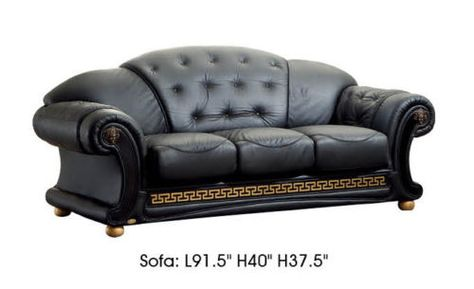 Chesterfield Sofa Versace Black Genuine Top Grain Italian Leather Luxurious Living Room Sofa Set Living room sofa Sofa set and Italian leather