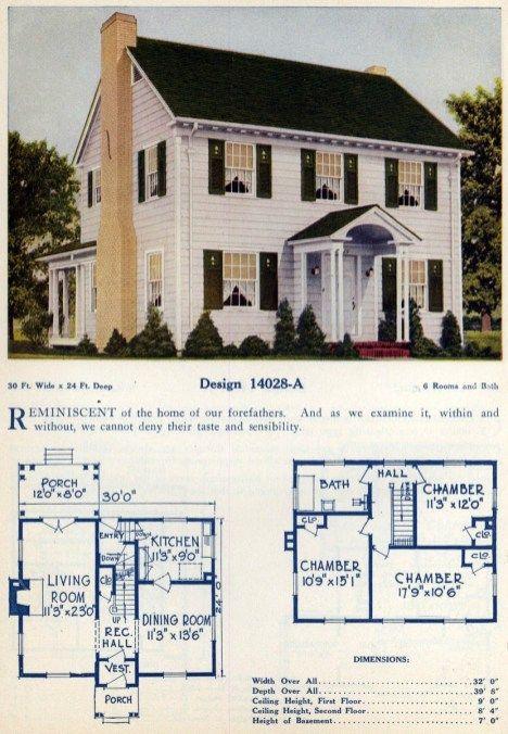 62 Beautiful Vintage Home Designs Floor Plans From The 1920s Home Design Floor Plans Colonial House Plans Vintage House Plans